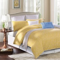 Mustard Yellow and White Sexy Leopard Pattern Abstract Design Luxury Egyptian Cotton Full, Queen Size Reversible Bedding Sets