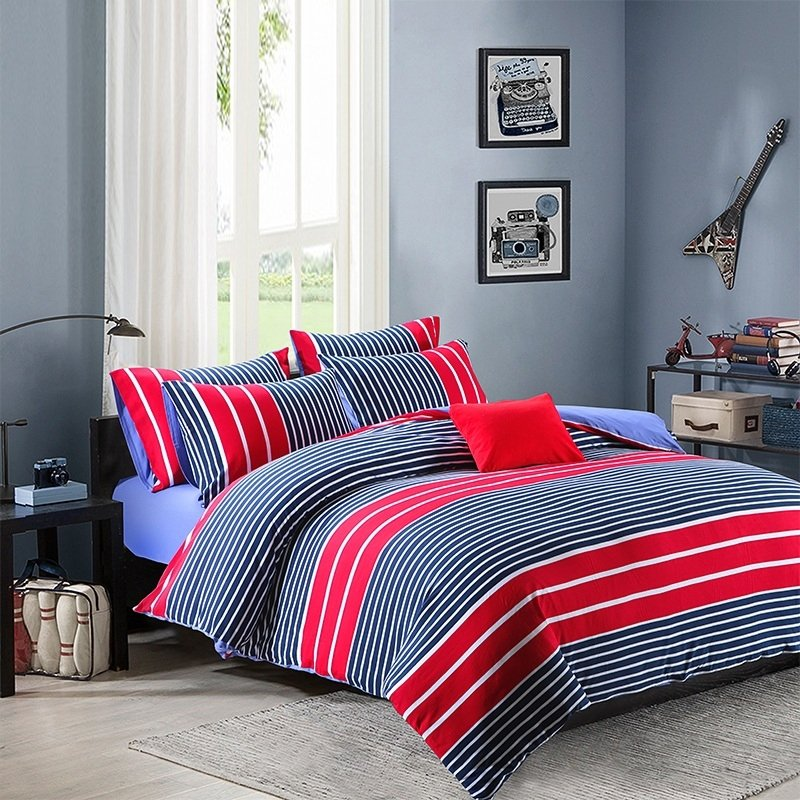 Deep Blue Red and White Boys Rugby Stripe Print Preppy Style Knitted Reversible 100% Egyptian Cotton Full, Queen Size Bedding Sets