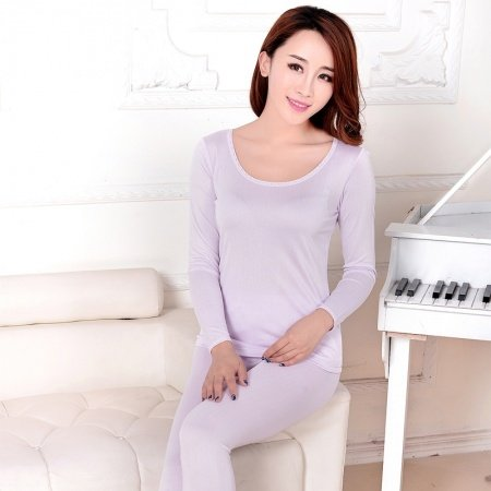 Pale Purple 100% Pure Silk Long Sleeve Shirt & Full Length Pants Contracted Spring Autumn Pajamas for Feminine M L XL XXL