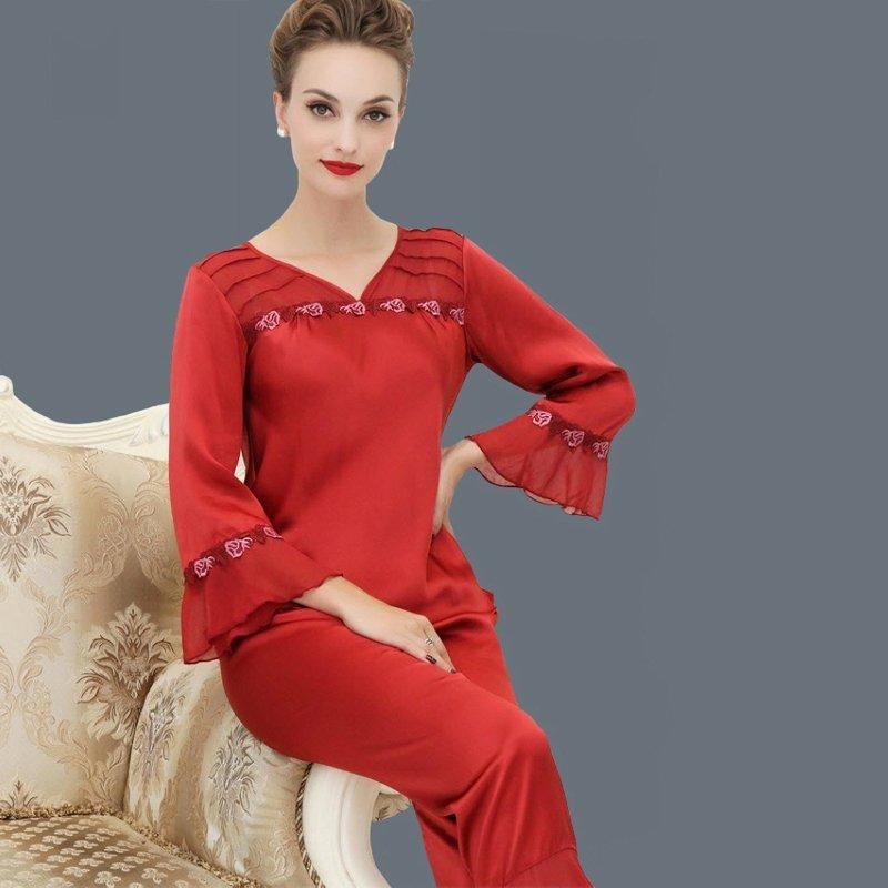 Wine Red 100% Nature Silk 2 Pieces Falbala and Flouncing Long Pajamas for Feminine Girly L XL XXL