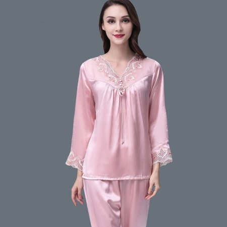 Pastel Pink 100% Mulberry Silk V-neck with Embroidered Jacquard Trim Lace Cuffs 2 Pieces Luxury Noble Women Pajama Set M L XL