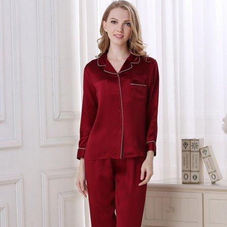 Wine Red 100% Asian Silk 2 Pieces Long Sleeve T-Shirt and Pants Elegant Silky Sprint Autumn Pajamas Set M L XL