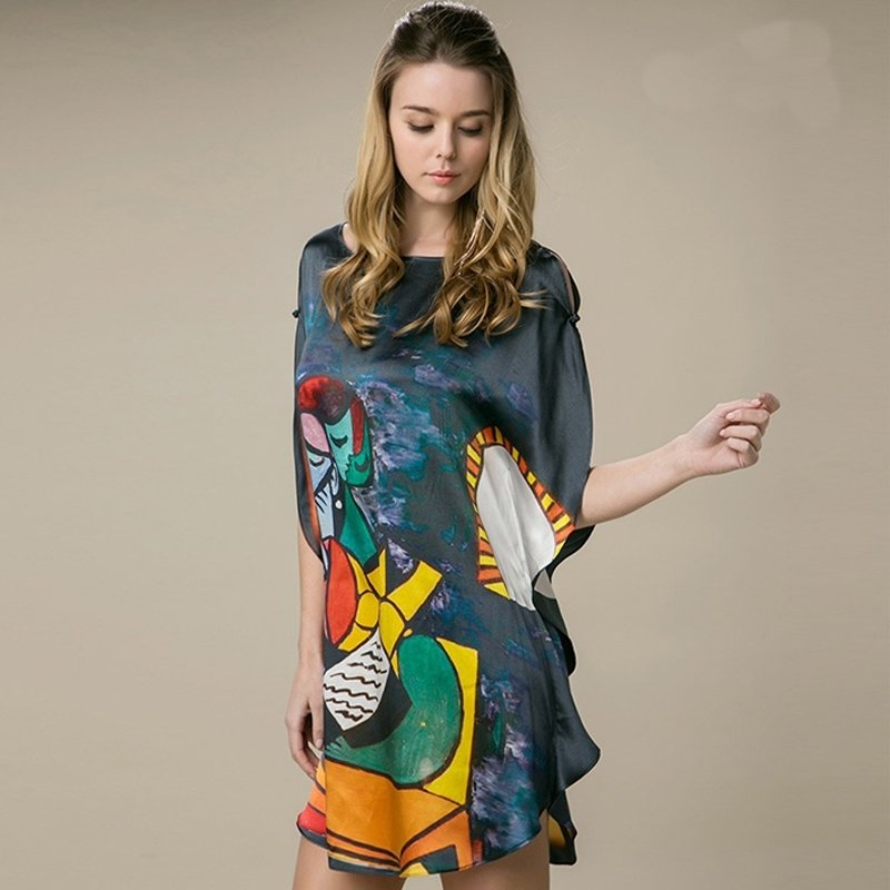 Black 100% Real Silk Chinese Style Oil Painting Batwing Cartoon Sleeve Open Sleeve Midi Nightdress Free Size Pajamas for Women