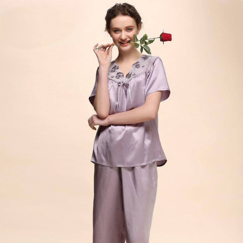 Purple Grey 100% Pure Silk 2 Pieces Luxurious Pajamas for Women M L XL XXL