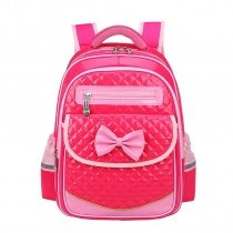 Durable Rose Red Faux Leather with Pink Bow Quilted Flap School Backpack Boutique Sewing Pattern Zipper Girls Preppy Campus Book Bag