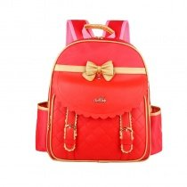 Coral Red Patent Leather Cute Bow Quilted Girls School Backpack Fashion Sewing Pattern with Gold Trim Pupil Preppy Campus Book Bag