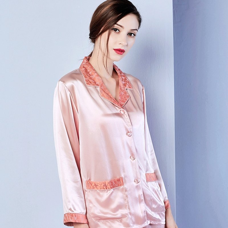 Plain Pale Red Lapels with Flower Trim 2 Pieces 100% Pure Silk Open Collar Single-Breasted Pajamas M L XL
