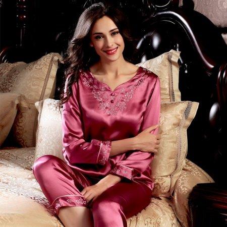 Wine Red 100% Pure Silk Vintage Silk Pajamas for Women M L XL XXL