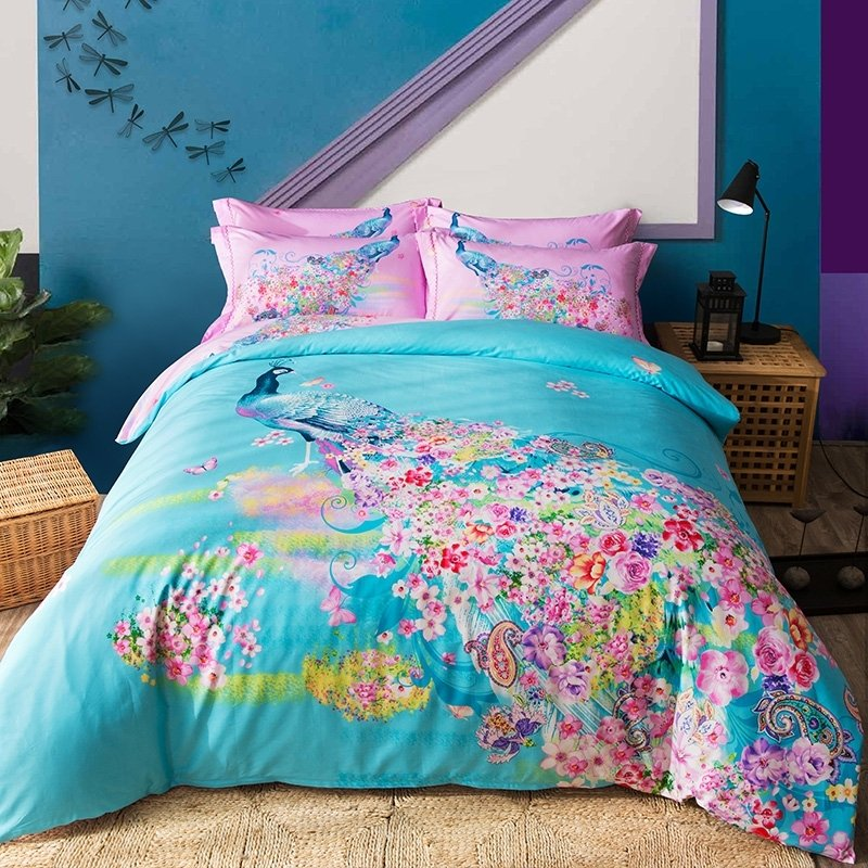Elegant Girls Turquoise Rose Pink and Lime Green Peacock and Flower Print Jungle Animal Unique 100% Cotton Full, Queen Size Bedding Sets