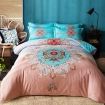 Salmon Aqua and Brown Medallion Print Tribal Pattern Bohemian Style Southwest 100% Cotton Damask Full, Queen Size Bedding Sets