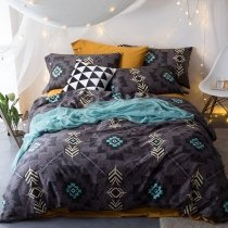 Black Grey and Aqua Blue Geometric Pattern Artistic Style Abstract Design Luxury Egyptian Cotton Full, Queen Size Bedding Sets
