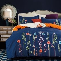 Deep Blue Coral Pink and Lime Wild Flower Pattern Country Rustic Style Reversible 100% Organic Cotton Full, Queen Size Bedding Sets