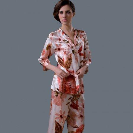 Maple-leaf Flower Print Waist Tie Single-Breasted 100% Nature Silk Luxury Pajamas for Feminine Girly M L XL XXL