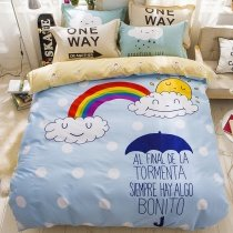 Sky Blue Navy Blue and White Colorful Rainbow Bridge Print Cloud and Monogrammed 100% Cotton Twin, Full Size Bedding Sets
