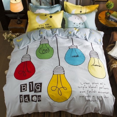 Lava Red Yellow Aqua Green Black and White Colorful Big Ideas Personalized Hipster Style 100% Cotton Twin, Full Size Bedding Sets