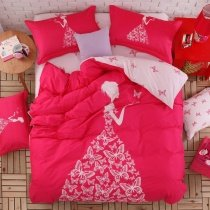 Elegant Girls Crimson Red and White Princess Style Butterfly Print Feminine Feel Stylish 100% Cotton Twin, Full Size Bedding Sets