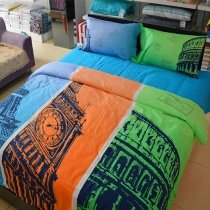 Orange Green Blue and Black Eiffel Tower, Big Ben and Colosseum Print European Style Reversible Full, Queen Size Bedding Sets