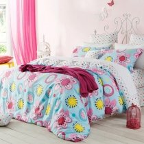 Bright Colorful Tropical Flower and Polka Dot Design Southwestern Style Reversible 100% Cotton Full, Queen Size Bedding Sets