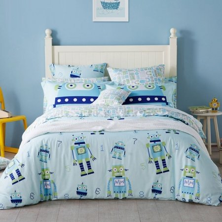Kids Navy Apple Green and Light Blue Robot Print Funky Style Cartoon Themed Soft Cotton Twin, Full, Queen Size Bedding Sets