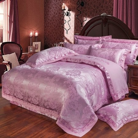 Deep Mauve Peony Flower and Western Paisley Pattern Vintage Style Glitter Themed Boutique Jacquard Satin Full, Queen Size Bedding Sets