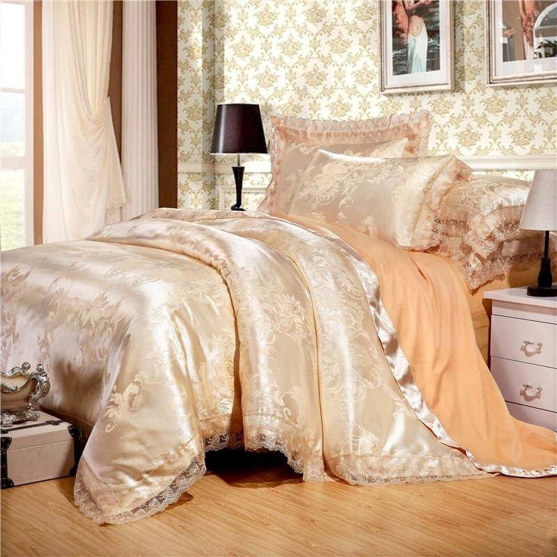 Boutique Champagne Gold Scroll Pattern Sequin Durable Noble Excellence Jacquard Satin Fabric Full, Queen Size Bedding Sets