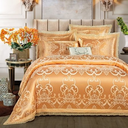 Sparkly Royal Gold Rococo Pattern Bohemian Style Lace Design Upscale Luxury Jacquard Satin Full, Queen Size Bedding Sets