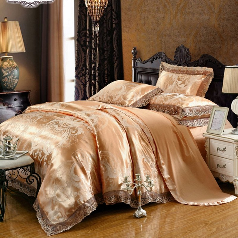 Bronze and Grey Scroll and Paisley Pattern Vintage Lace Design Retro Style Boutique Jacquard Satin Full, Queen Size Bedding Sets