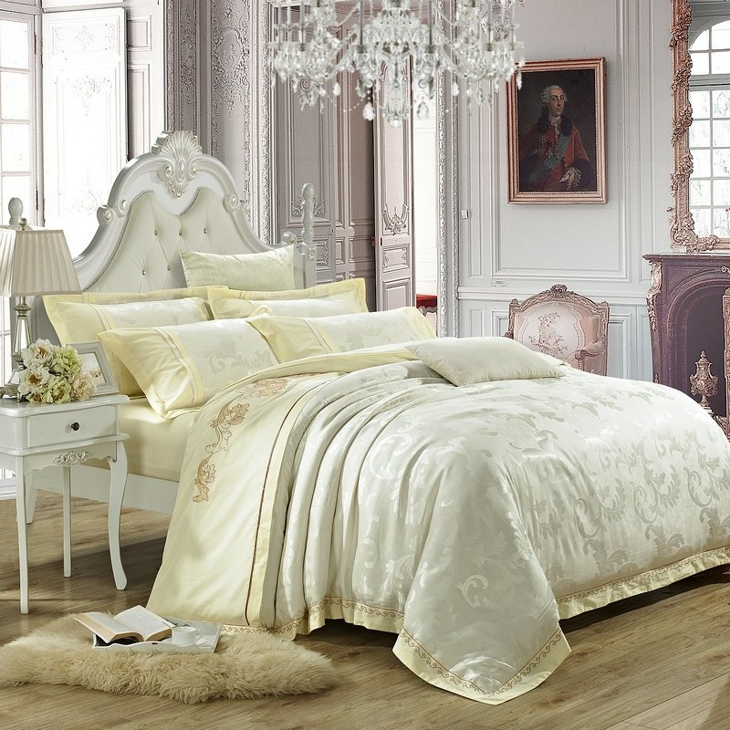 Luxury All Beige Scroll Pattern Wedding Themed High Fashion Embroidered Design Sequin Jacquard Satin Full, Queen Size Bedding Sets
