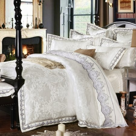 Elegant Girls Off-White and Black Indian Pattern Victorian Lace Design Sequin Romantic Jacquard Satin Full, Queen Size Bedding Sets