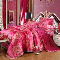 Elegant Girls Rose Red and Gold Boutique Flower Pattern Oriental Style Sexy Lace Edge Jacquard Satin Full, Queen Size Bedding Sets