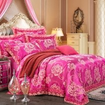 Rose Red and Gold Vintage Flower Pattern Antique Lace Design Cute Girly Jacquard Satin Full, Queen Size Bedding Sets