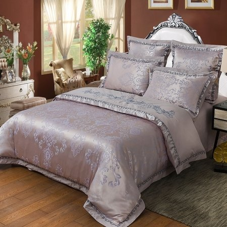 Gray and Silver Elizabethan Pattern Embroidered Design Western Style Luxury Jacquard Satin Fabric Full, Queen Size Bedding Sets
