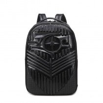 Personalized Black Embossed Faux Leather Cool Boys School Campus Book Bag Punk Style Tactical Masculine Large Travel Laptop Backpack
