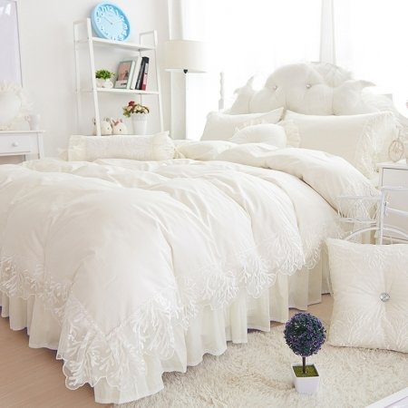 Ivory White Lace Design Princess Style High Gloss Elegant Girls Wedding Themed Luxury Cotton Twin, Full, Queen Size Bedding Sets