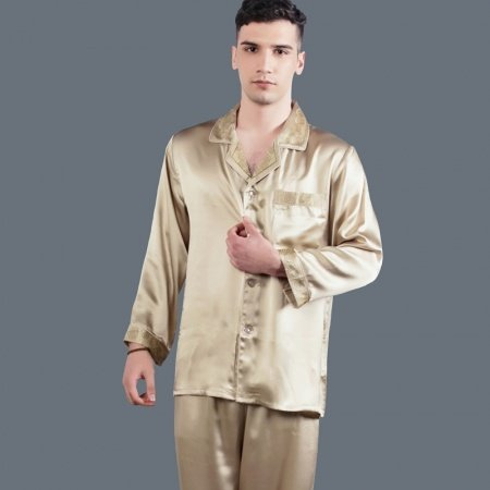 Champagne 100% Pure Silk Long Sleeve Single-Breasted Lapel Shirt & Pants Luxury Homewear Pajamas for Masculine L XL XXL