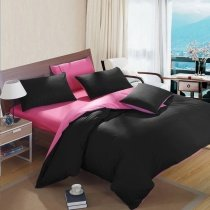 Black and Hot Pink Pure Colored Modern Chic Simply Reversible 100% Cotton Full, Queen, King Size Bedding Sets