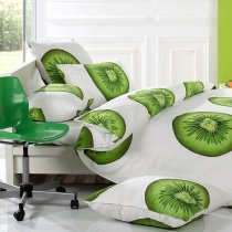 Olive Green and White Fruit Kiwi Print Stylish and Fun Hipster Style Unique 100% Cotton Twin, Full Size Bedding Sets