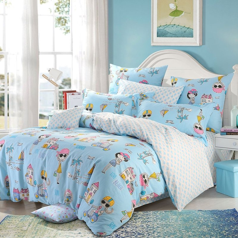 Light Blue Yellow Pink and White Stylish Girls Holiday Style Twin, Full, Queen Size Bedding Sets