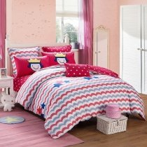 Cerise Red Grey White and Blue ZigZag Stripe and Star Print Unique Reversible 100% Cotton Twin, Full, Queen Size Bedding Sets