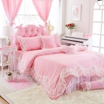 Noble Excellence Pink and White Vintage Victorian Lace Scalloped Ruffle Sophisticated Elegant Girls Cotton Full, Queen Size Bedding Sets