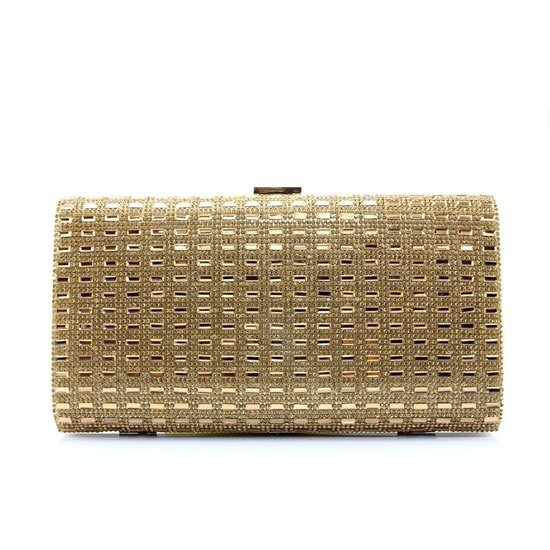 Sparkle Metallic Gold Patent Leather Women Small Hard Shell Evening Clutch Vintage Lock Closure Sequin Chain Crossbody Shoulder Bag