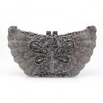 Dark Gray Western Bling Rhinestone Women Evening Clutch Vintage Magnetic Closure Butterfly Shaped Chain Small Crossbody Shoulder Bag