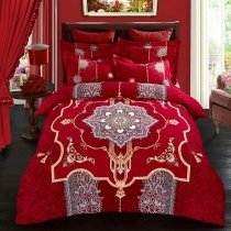 Burgundy Red and Gold Exotic Indian Pattern Noble Excellence Western Style 100% Brushed Cotton Full, Queen Size Bedding Sets