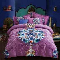 Plum Purple Blue Orange and White Bohemian Hippie Style Medallion Print Luxury 100% Brushed Cotton Full, Queen Size Bedding Sets