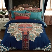 Royal Blue Turquoise White and Coral Red Abstract Indian Pattern Western Bohemian Style 100% Brushed Cotton Full, Queen Size Bedding Sets