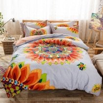 Trendy Orange Grey and Blue Bright Colorful Sunflower Print Luxury 100% Cotton Full Size Bedding Sets
