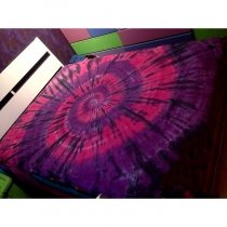 Rose Pink and Grape Purple Trippy Bohemian Style Western Chic Handmade Tie Dye 100% Cotton Twin, Full, Queen Size Tie Dye Bedding Sets