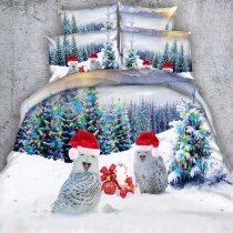 Grey Red and White Owl Print Christmas Holiday Style Animal Themed Twin, Full, Queen, King Size Bedding Sets
