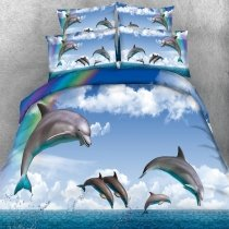 Blue and White Dolphin and Rainbow Print Ocean Animal Tropical Style Twin, Full, Queen, King Size Bedding Sets