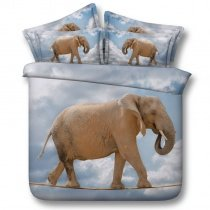 Brown Grey and White Elephant Print Funky Style 3D Animal Themed Twin, Full, Queen, King Size Bedding Sets
